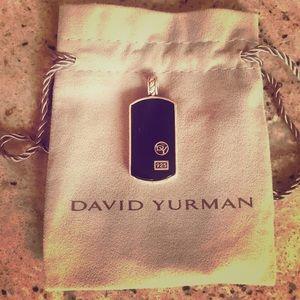 David Yurman Black Onyx Dog Tag .925 Sterling